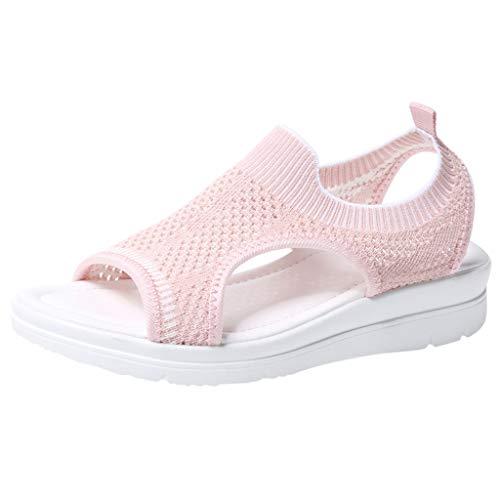 TUDUZ Sandalias De Mujer Verano La Comodidad Transpirable Ahueca hacia Fuera Las Cuñas Casuales Los Zapatos De Tela Sandalias