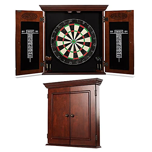 Dartboard Cabinet Set Electronic 18'' Board with Wood Door and Steel Tip Dart, Brown