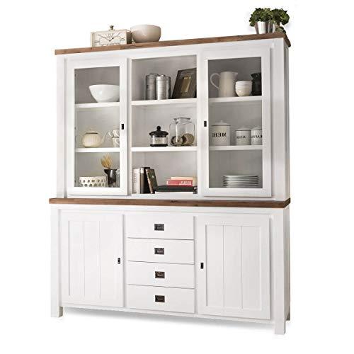 MÖBEL IDEAL Buffetschrank Lyron - Küchenschrank im Landhaus Stil - Buffet aus Massivholz in Braun & Weiß lackiert I Maße: B185 x H212 x T45 cm