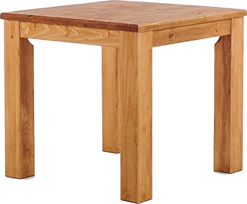 Esstisch Rio Classico 90x90 cm Honig Massivholz Pinie Holz Esszimmertisch Echtholz Größe und Farbe wählbar ausziehbar vorgerichtet für Ansteckplatten Brasilmöbel