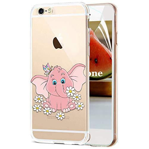 OKZone Coque iPhone 6S / 6 [avec Film de Protection écran HD], Ultra Mince Motif de Créatif Claires TPU Souple Coque, Transparent Housse Etui pour Apple iPhone 6S / 6 4,7 Pouces (Éléphant)