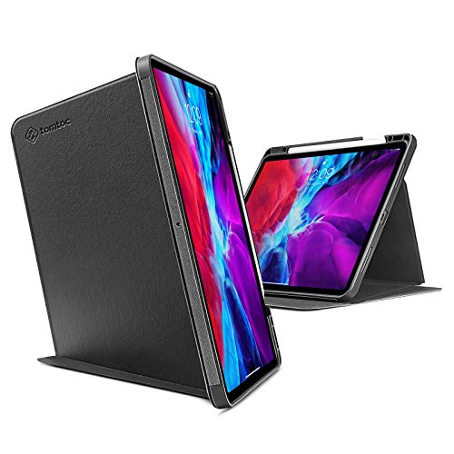 tomtoc Premium Tablet Shoulder Bag with Smart Tri-Case for 12.9-inch iPad Pro 3rd/4th Gen 2018-2020, Protective Cover with Convenient Magnetic Kickstand for 3 Use Mode (Portrait Landscape Sketch)