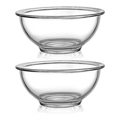 Bovado Glass Bowl for Storage, Mixing, Serving - Clear, Dishwasher, Freezer & Oven Safe Glass, Easy-Clean (1 Quart - 2 Pack)