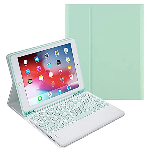 IPad 10.2 Inch Touchpad Keyboard Case - Touchpad Round Hat Keyboard Bluetooth Slim Folio Smart Leather Cover for 2019/2020 IPad 10.2,Fresh green2