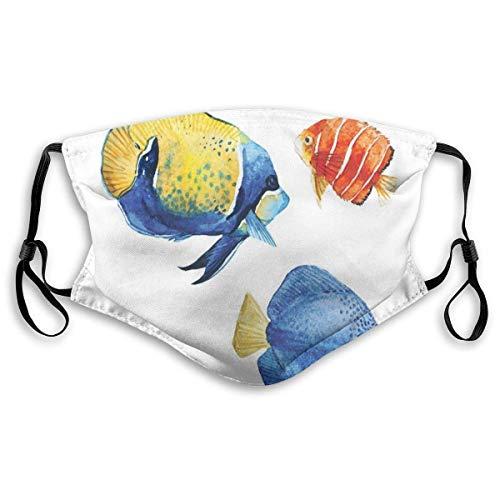 YYTT8 Gesichtsbedeckung Mundschutz Tropisches Aquarium Leben Diskusfisch und Goldfisch in verschiedenen Mustern