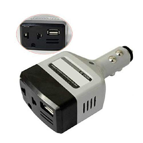 YAMAXUN Inversor De Corriente: Convertidor De Coche De 120 W, Toma De Corriente De 12 V CC A 120 V CA con Puerto USB