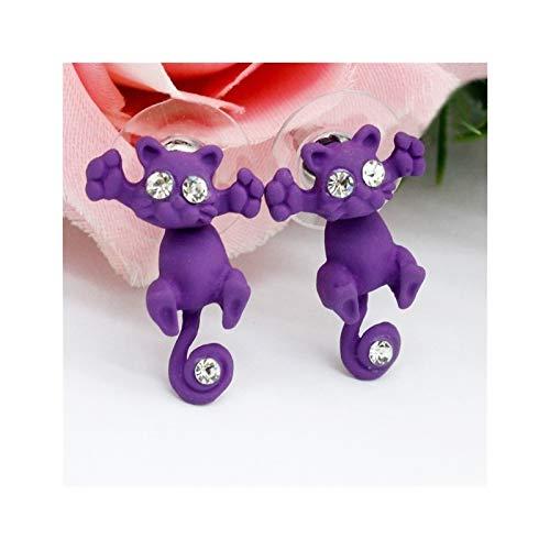 YNX MLKCL Creativo Encantador Dulce Moda Animal Dibujos Animados Gato Pendientes Accesorios 6 Colores (Metal Color : Purple)