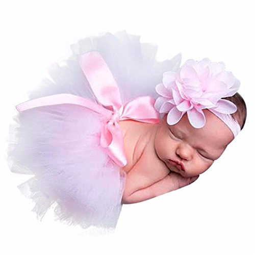 Newborn Baby Girls Photo Photography Prop Tutu Skirt Headband Outfit Clothes Set (F)