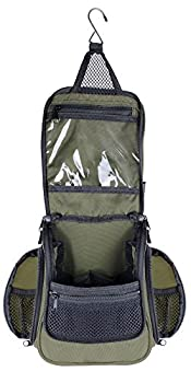 Compact Hanging Toiletry Bag and Organizer Water Resistant with Mesh Pockets  Forest