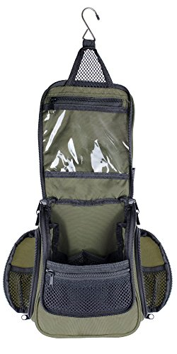 Compact Hanging Toiletry Bag and Organizer, Water Resistant with Mesh Pockets (Forest)