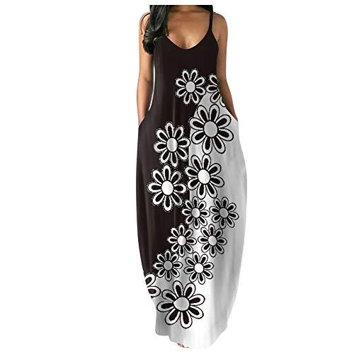 riou Vestido Mujer Bohemio Largo Verano Playa Fiesta Casual Vestido de Cóctel de Noche/Color Sólido Falda...