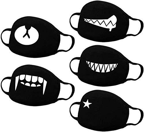 VESNAHOME Patrón de Anime, 5 Piezas, Kawaii, Adecuado Para Adultos, Niñas, Niños, Negro
