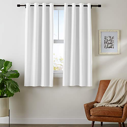 "Amazon Basics Room Darkening Blackout Window Curtains with Grommets - 52"" x 63"", White, 2 Panels"