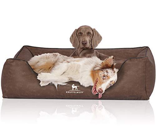 Knuffelwuff Hundebett Scottsdale aus Kunstleder XXL 120 x 85cm Braun