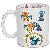 Taza de cumpleaños con impresión en el asa, en el interior y en el exterior - Parodia de Pokémon- Charizard, Mega...