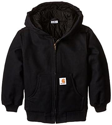 Carhartt Big Boys' Active Quilted Flannel Lined Jacket, Caviar Black, Medium-10/12