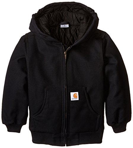 Carhartt Big Boys' Active Duck Jacket, Caviar Black, Small-7/8