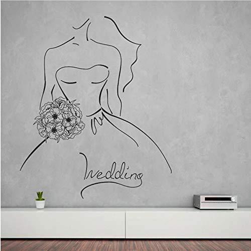 Hochzeit Wandaufkleber Kontur Skizze Braut Blumenstrauß Vinyl Fenster Glas Aufkleber Brautkleid Shop Inneneinrichtung Kunst Wandbild 68X57Cm