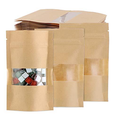 TsunNee 100 Stück Kraftpapierbeutel zum Aufstellen von Lebensmitteln, aus Kraftpapier, wiederverwendbare Druckverschlussbeutel, braunes Papier mit transparentem Fenster, 9 x 14 cm