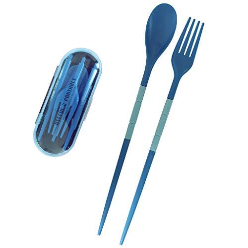 Funycell Tragbares Besteck-Set, zusammenklappbar, Kunststoff, Reisen, Camping, Besteck-Set mit Koffer, Gabel, Löffel, Essstäbchen, Geschirr Geschirr blau