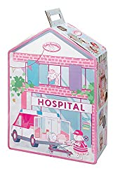 Baby Annabell hospital with fold down bed and medical accessories. Includes stethoscope, thermometer, injection, bandages and more. Plus soft bedding for Baby Annabell. Beautifully decorated. Folds away for easy storage. Doll not included. Suitable f...