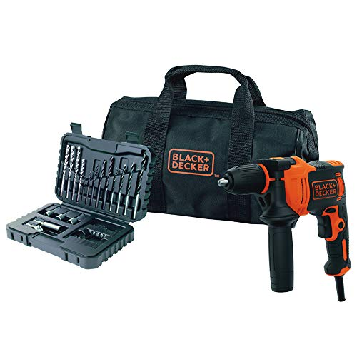 BLACK+DECKER BEH710SA32-QS Trapano a Percussione in Borsa con Accessori, 710W
