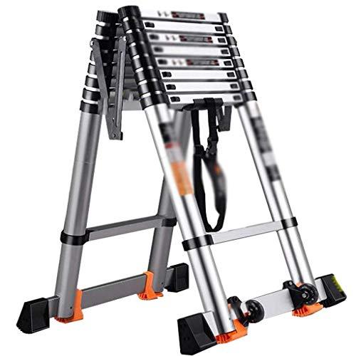 Escaleras telescópicas Escalera telescópica, Escalera plegable para el hogar, Escalera de extensión multiusos, Escalera de ingeniería de aluminio con sistema de retracción de un botón, Carga 150