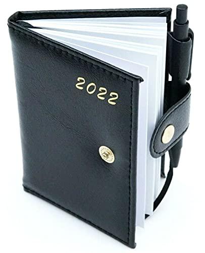 Taschenkalender 2022 mit Stift Leder Optik Terminplaner Organizer Timer Kalender Buchkalender Schwarz Schriftzug Gold mit Jahreskalender, Ferien und Feiertage