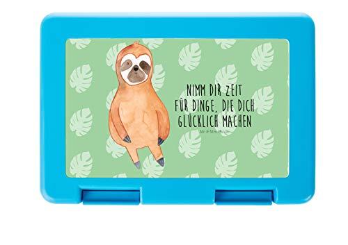 Mr. & Mrs. Panda Butterbrotdose, Brotzeitbox, Brotdose Faultier Zufrieden mit Spruch - Farbe Tropengrün