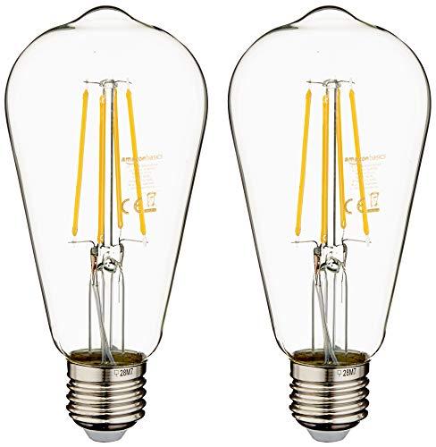Amazon Basics - Bombilla LED E27 Vintage Edison, ST64, 7 W (equivalente a 60 W), filamento transparente, paquete de 16