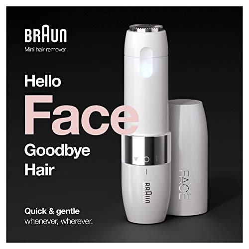 Braun Face mini depilator FS1000, elektryczny depilator do włosów na twarzy dla kobiet, szybkie i delikatne golenie górnej wargi, podbródka i policzków, w podróży, biały