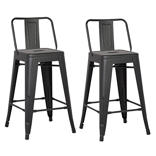 AC Pacific Modern Industrial Metal Barstool with Bucket Back and 4 Leg Design, 24' Seat Bar Stools (Set of 2), Matte Black Finish