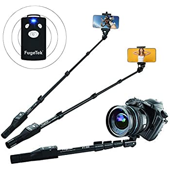 "Fugetek 49"" Selfie Stick Monopod Professional High End FT-568, For Apple iPhone, Android Samsung, & DLSR Cameras, Aluminum Alloy, Rechargeable Wireless Bluetooth Remote (Black)"