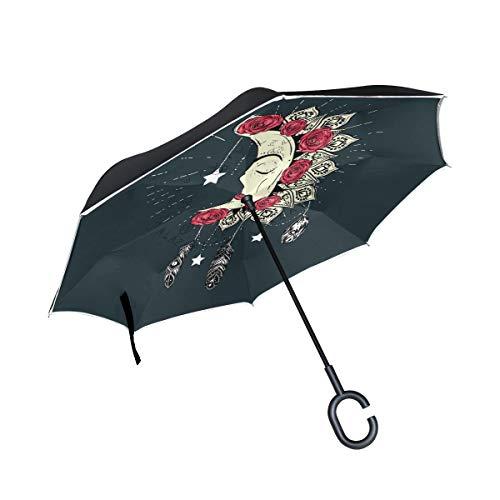 Mr. Lucien 2021201 - Paraguas invertido con diseño de Mandala y Luna, Doble Capa, Resistente al Viento, Resistente al Agua, para Viajes al Aire Libre