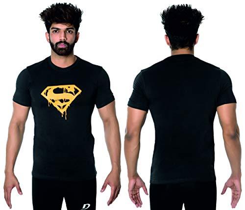 dk Activewear - Camiseta deportiva para hombre, diseño de Superman, gimnasio, culturismo, culturismo, musculación, entrenamiento, media manga, talla grande, color negro y amarillo
