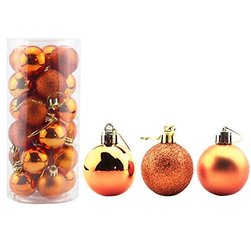 Bestjybt 24pcs 1.57' Small Christmas Ball Ornaments Shatterproof Christmas Decorations Tree Balls for Holiday Wedding Party Decoration, Tree Ornaments Hooks Included (Orange, 4cm/1.57')