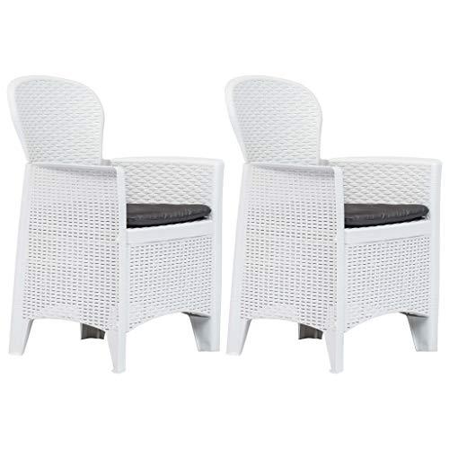 Festnight- 2er Set Polyrattan Gartensessel mit Kissen | Rattan Gartenstühle Sessel Stühle für Garten Terrasse Balkon Wei? 59 x 57 x 89 cm