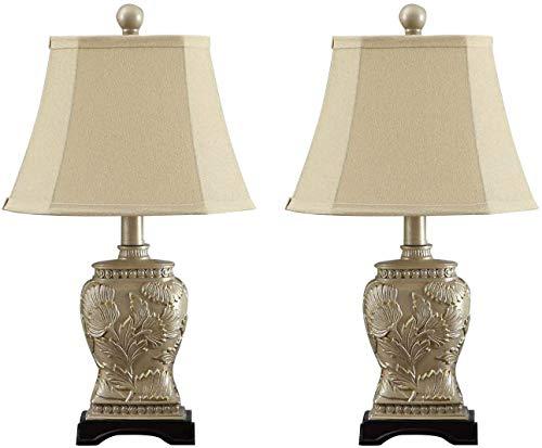 U'Artlines 2er-Set Tischlampe, Nachttisch aus Lampenschirm Polyester und Elegante aus Geprägtem Nachttischlampen, klein, Höhe 49cm