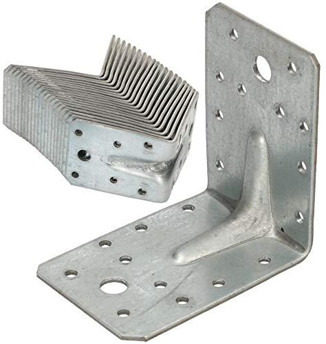 KOTARBAU® Winkelverbinder 90 x 90 x 65 mm mit Rippe Sicke Lochwinkel Bauwinkel Holzverbinder Balkenwinkel Verbinder Top-Qualität Silber Winkel 25 Stk.