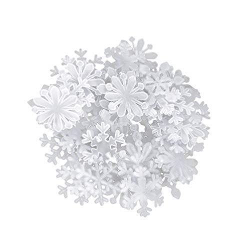 VALICLUD 200Pcs Brillan en La Oscuridad Calcomanías de Copos de Nieve Ventana de Navidad Se Adhiere Pegatinas de Vidrio de Pared Luminosas 3D Decoraciones de Arte de Pared de Navidad