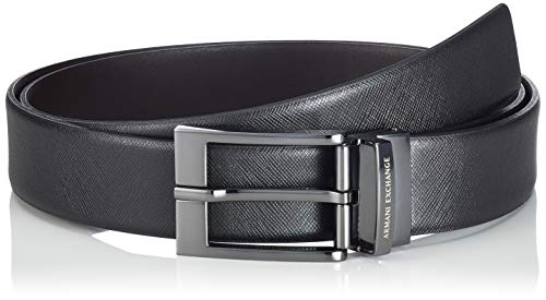 ARMANI EXCHANGE Leather Belt with Plaque Cintura, Nero (Black/Dark Brown 54120), No Aplica (Taglia Produttore: TU) Uomo
