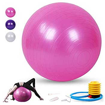 Sodeno Exercise Ball 65cm Yoga Ball for Fitness Birthing Ball Anti-Burst Professional Quality Design Stability Balance Ball Pilates Core & Workout Ball with Quick Pump - Home Gym Office Chair