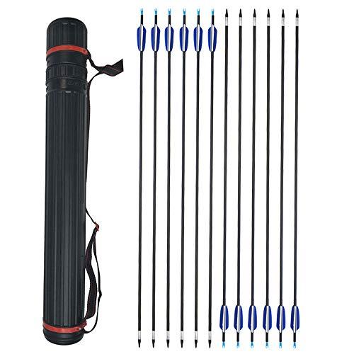 ZSHJG 12pcs Carbonpfeile für Bogenschießen 31 Zoll Jagdpfeile Spine 700 Bogenpfeile mit Pfeilköcher für Compound und Recurve Bogen Pfeile für Bogensport (Pfeil + Köcher)
