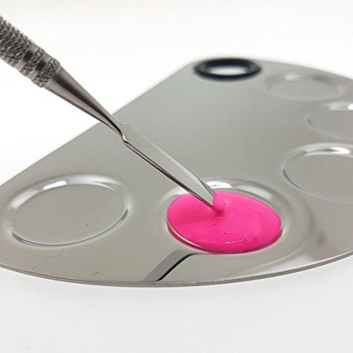 Senjo Color avec plaque Makeup et FX Mélangeur Set Spatule Inox farbmisch Palette 160 mm 5 mangeoires avec trou de préhension