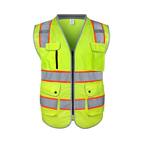 amoolo Safety Vest with 9 Pockets, Zipper and Padded Neck, High Visibility Reflective Vest, ANSI/ISEA Type R Class 2, Yellow, L