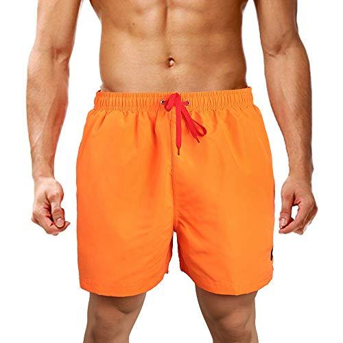 LK LEKUNIBadehose Herren Badeshorts Schwimmhose Boardshorts Kurz Sommer SchnellTrocknend Orange_XL