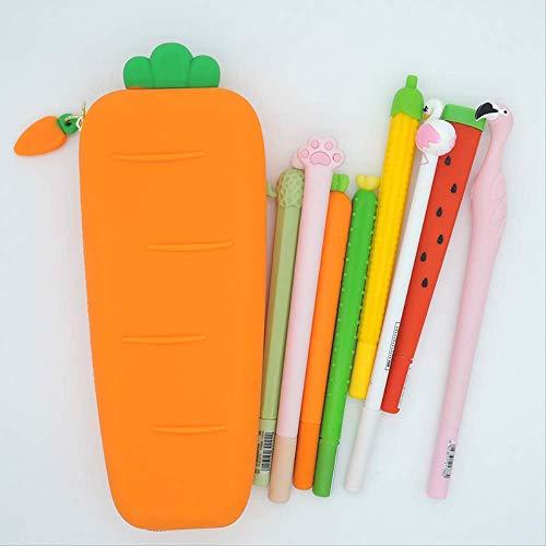 GenericBrands Cute Carrot Pencil Case Soft Orange Silica Gel Student...