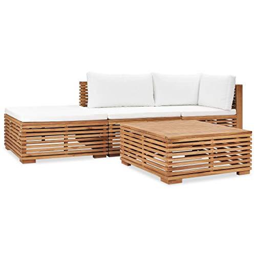 vidaXL Teak Massiv Gartenmöbel 4-TLG. mit Auflagen Sofa Lounge Möbel Sitzgarnitur Gartengarnitur Sitzgruppe Gartenset Gartensofa Mittelsofa Ecksofa
