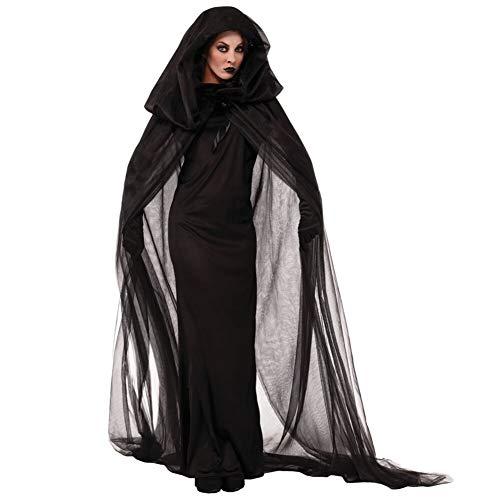 2019000000 Halloween Hexe Roben Uniformen Cosplay erwachsene Halloween-Kostüme neu Tod der Nacht wandernde Geist Seele geladen Geeignet für Thema-Partei Karneval Nacht ( Color : Black , Size : L )