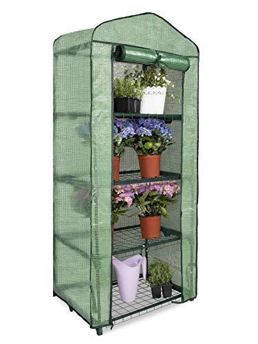 Garden Point Mini-Gewächshaus | 69 x 49 x 160 cm | 4 Regale | Grüner Stahl | Perfekt für Pflanzen und Gartengeräte | Für den Garten und Balkon | Für Profis und Amateure des Pflanzenanbaus